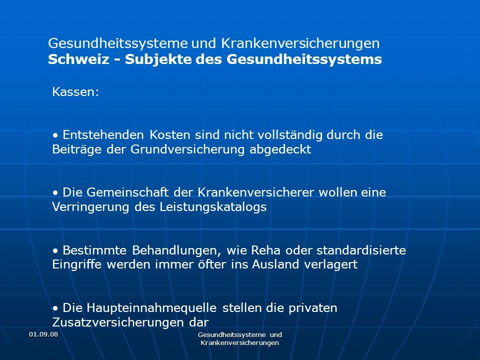 01.09.08 Gesundheitssysteme und Krankenversicherungen Kassen: Entstehenden Kosten sind nicht vollständig durch die Beiträge der Grundversicherung abge