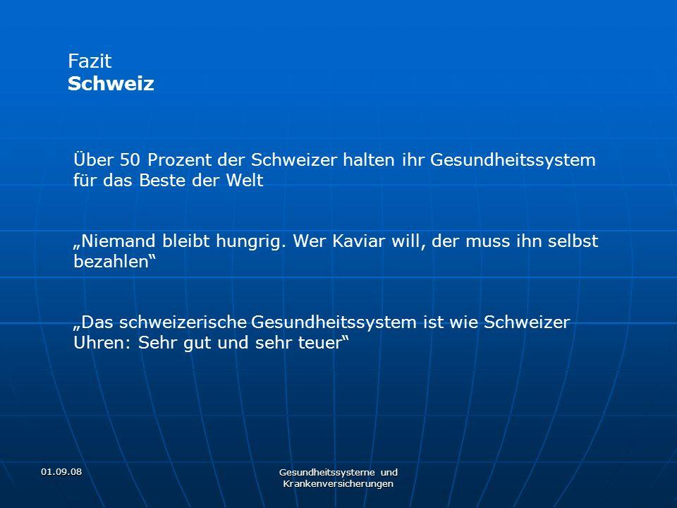 01.09.08 Gesundheitssysteme und Krankenversicherungen Fazit Schweiz Über 50 Prozent der Schweizer halten ihr Gesundheitssystem für das Beste der Welt