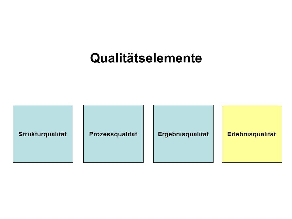 Qualitätselemente StrukturqualitätProzessqualitätErgebnisqualitätErlebnisqualität