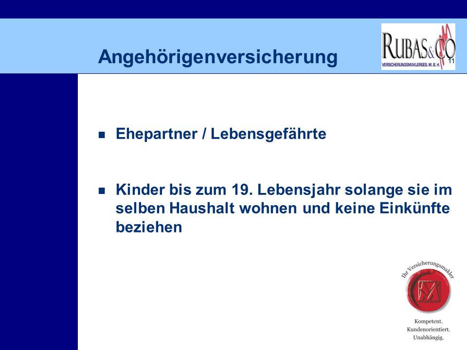 11 Angehörigenversicherung Ehepartner / Lebensgefährte Kinder bis zum 19.