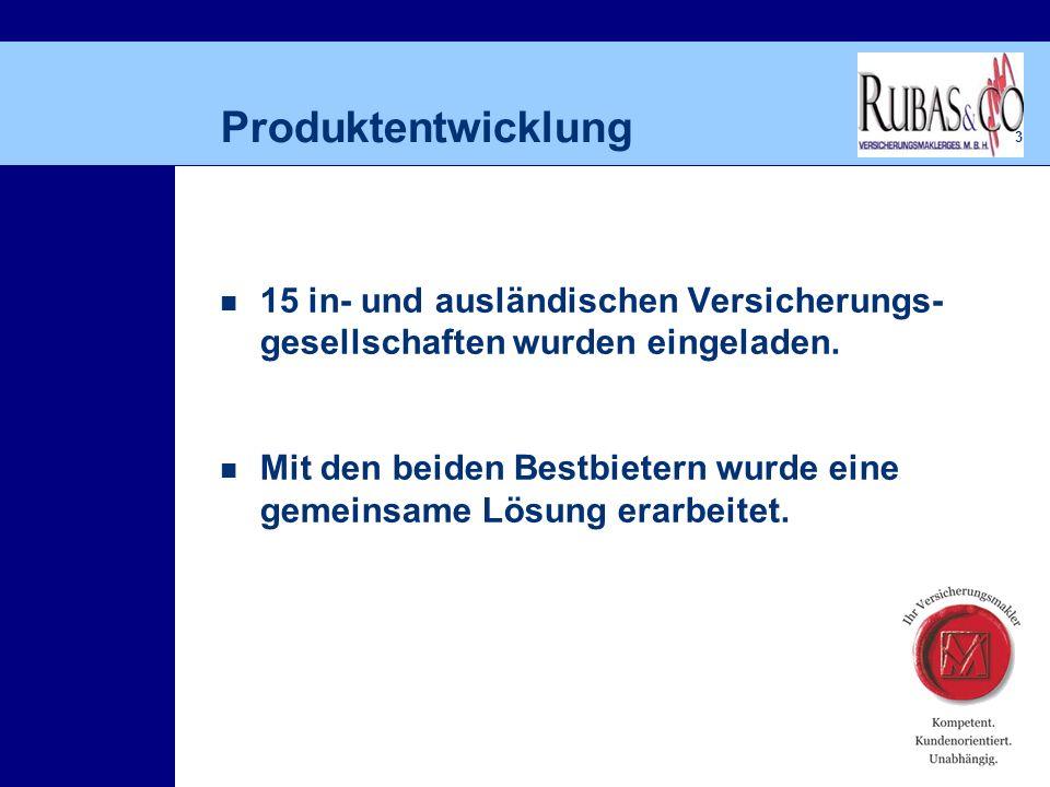3 Produktentwicklung 15 in- und ausländischen Versicherungs- gesellschaften wurden eingeladen.