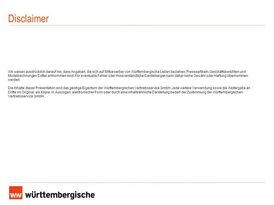 Disclaimer Wir weisen ausdrücklich darauf hin, dass Angaben, die sich auf Mitbewerber von Württembergische Leben beziehen, Presseartikeln,Geschäftsber