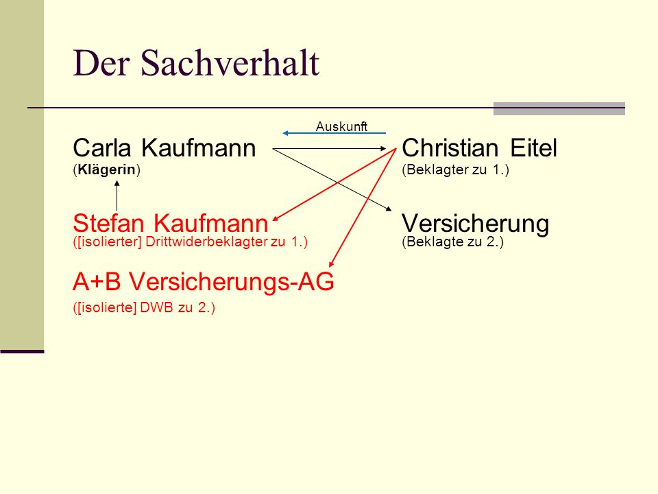 Der Sachverhalt Auskunft Carla KaufmannChristian Eitel (Klägerin)(Beklagter zu 1.) Stefan KaufmannVersicherung ([isolierter] Drittwiderbeklagter zu 1.