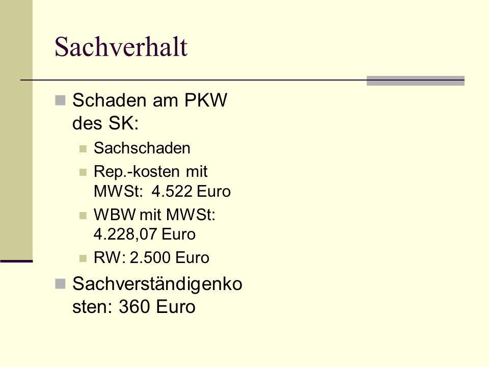 Sachverhalt Schaden am PKW des SK: Sachschaden Rep.-kosten mit MWSt: 4.522 Euro WBW mit MWSt: 4.228,07 Euro RW: 2.500 Euro Sachverständigenko sten: 36