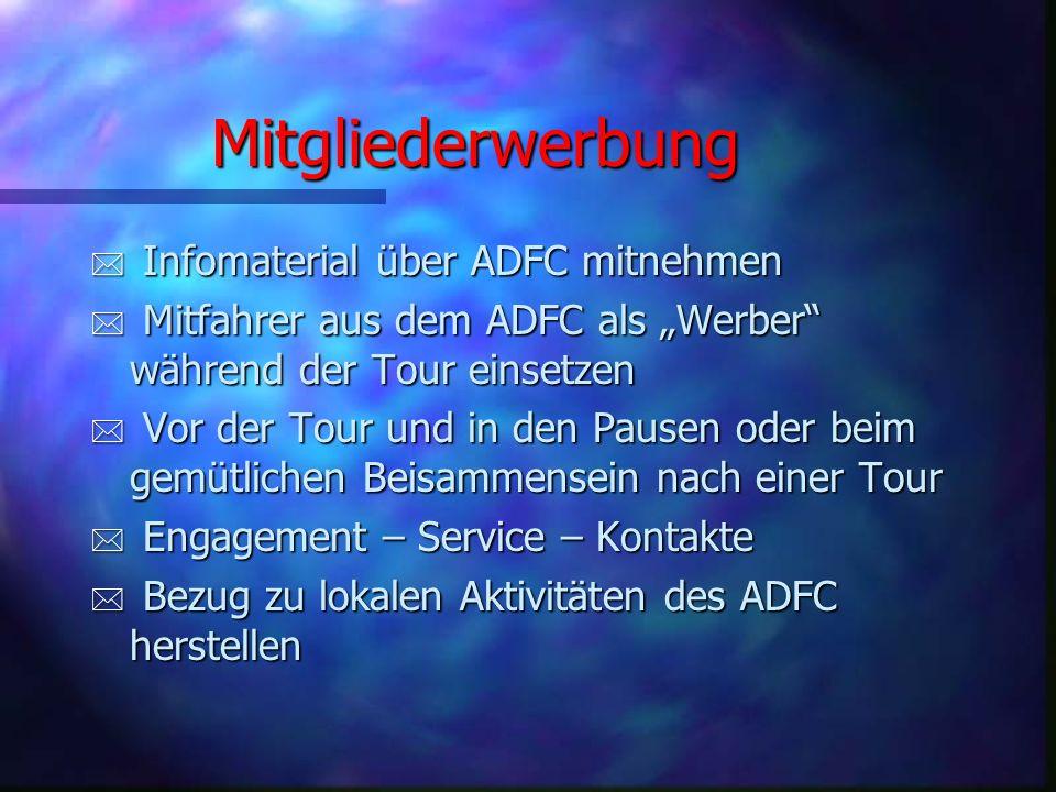Welche Anforderungen sollen TourenleiterIinnen erfüllen? * Teilnahme an mehreren geführten ADFC-Radtouren * Spaß an der Ausarbeitung von Radtouren * V