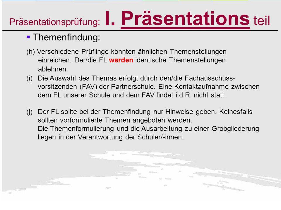 Präsentationsprüfung: I. Präsentations teil Themenfindung: Bsp: Das Ehrenamt in der Kirchengemeinde St. Pelagius in Rottweil: Berechtigung, Notwendigk
