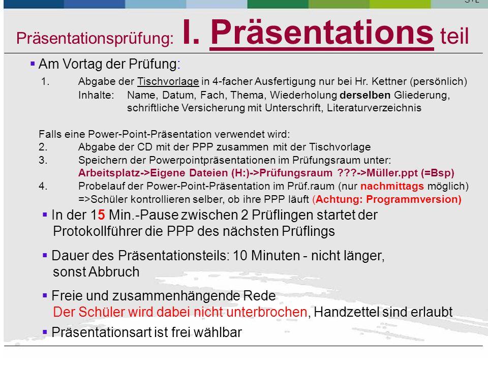 Präsentationsprüfung: I. Präsentations teil Themenfindung: (k) Die Grenze zwischen Beratung der Schüler bei der Themenfindung und nicht mehr zulässige