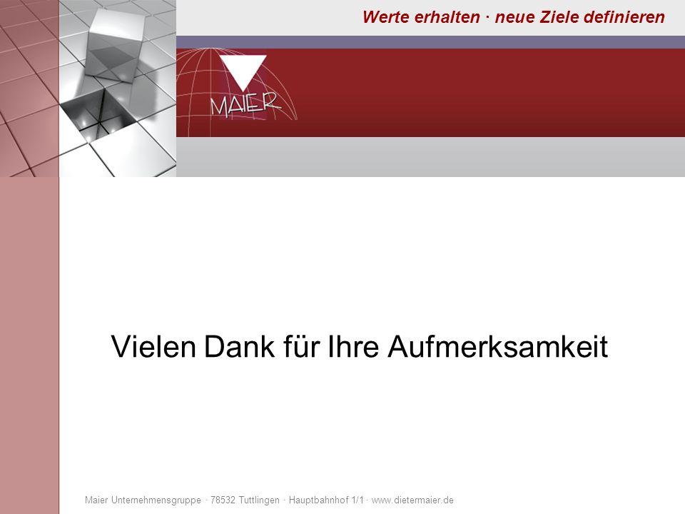 Werte erhalten · neue Ziele definieren Vielen Dank für Ihre Aufmerksamkeit Maier Unternehmensgruppe · 78532 Tuttlingen · Hauptbahnhof 1/1 · www.dieter