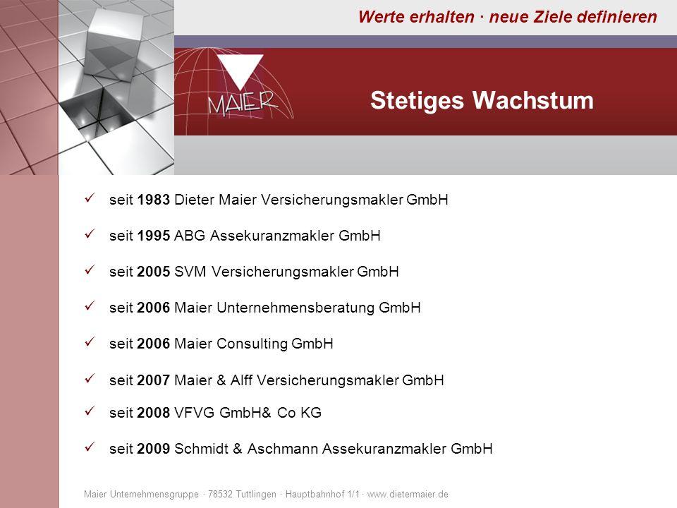 Werte erhalten · neue Ziele definieren Stetiges Wachstum seit 1983 Dieter Maier Versicherungsmakler GmbH seit 1995 ABG Assekuranzmakler GmbH seit 2005
