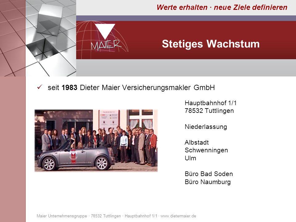 Werte erhalten · neue Ziele definieren Stetiges Wachstum seit 1983 Dieter Maier Versicherungsmakler GmbH Hauptbahnhof 1/1 78532 Tuttlingen Niederlassu