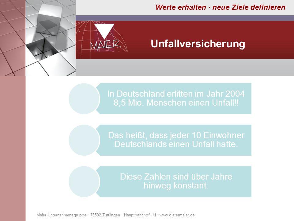 Werte erhalten · neue Ziele definieren Unfallversicherung Maier Unternehmensgruppe · 78532 Tuttlingen · Hauptbahnhof 1/1 · www.dietermaier.de