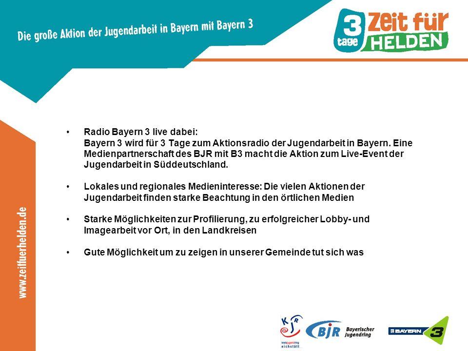 Radio Bayern 3 live dabei: Bayern 3 wird für 3 Tage zum Aktionsradio der Jugendarbeit in Bayern.