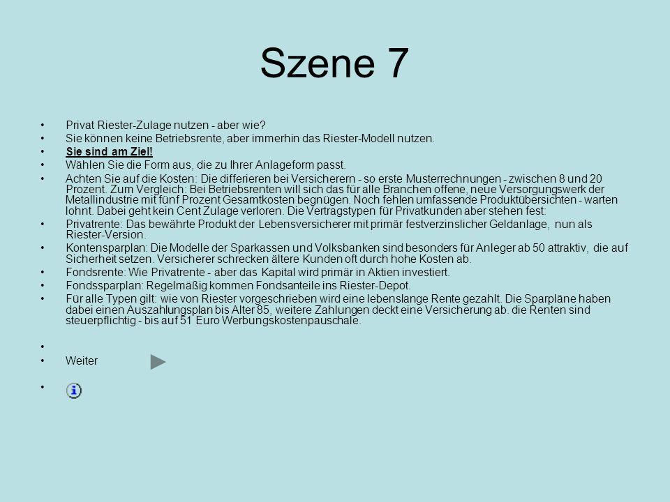 Szene 6 Fortsetzung Wieviel Firmenrente es mit Riester gibt Beispiel 1:Einzelhandelskaufmann, 35, verh., 2 Kinder Beispiel 2: Ingenieur, 42, verh., 1