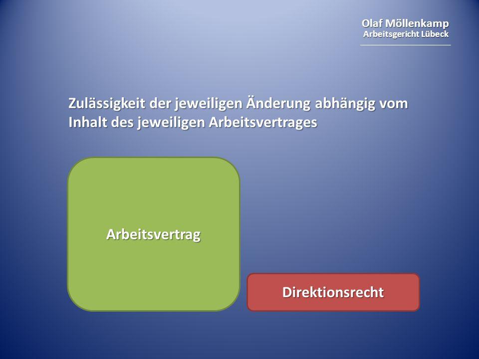 Olaf Möllenkamp Arbeitsgericht Lübeck Zulässigkeit der jeweiligen Änderung abhängig vom Inhalt des jeweiligen Arbeitsvertrages Arbeitsvertrag Direktionsrecht