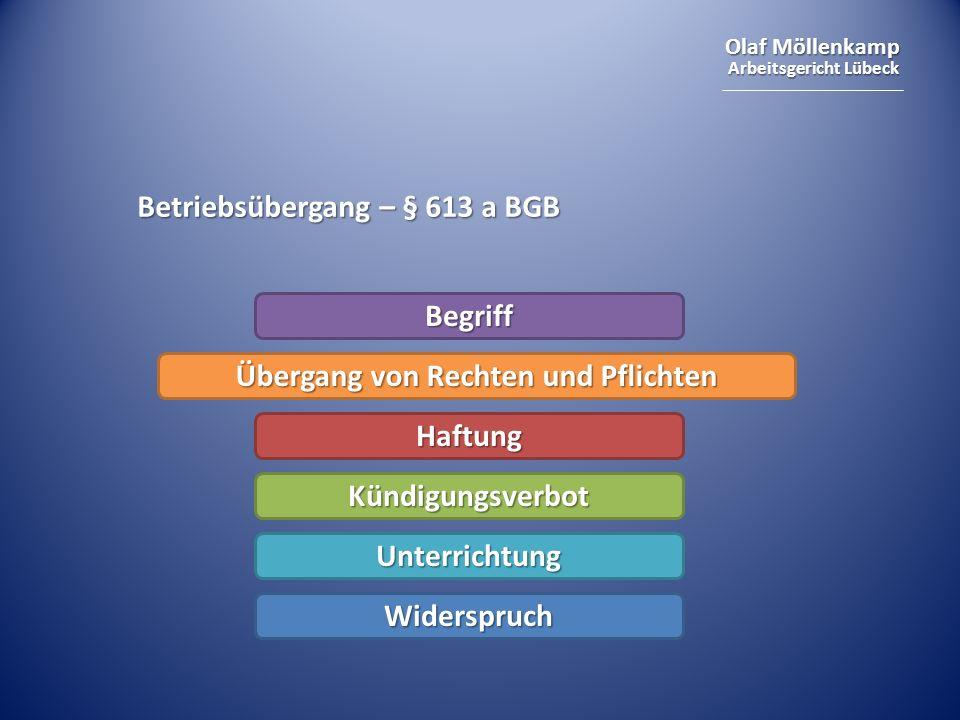 Olaf Möllenkamp Arbeitsgericht Lübeck Betriebsübergang – § 613 a BGB Begriff Übergang von Rechten und Pflichten Haftung Kündigungsverbot Unterrichtung