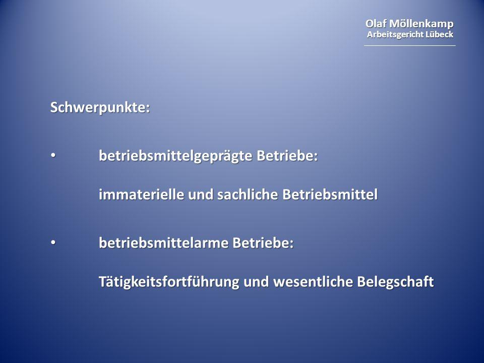 Olaf Möllenkamp Arbeitsgericht Lübeck Schwerpunkte: betriebsmittelgeprägte Betriebe: immaterielle und sachliche Betriebsmittel betriebsmittelgeprägte