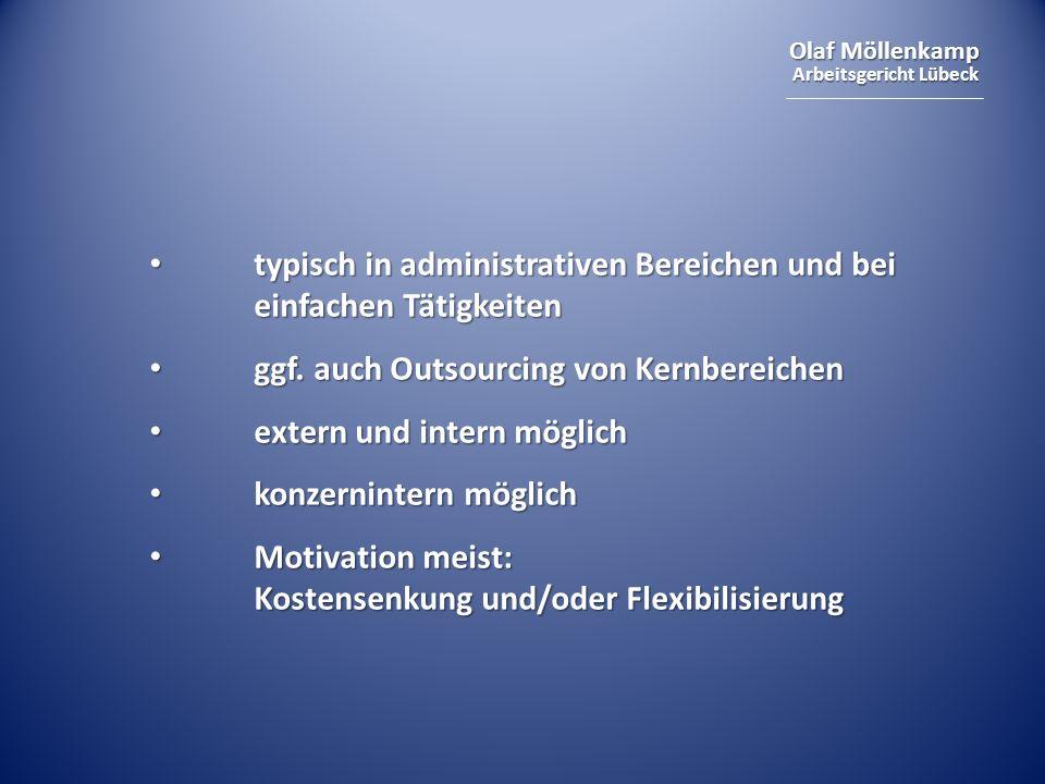 Olaf Möllenkamp Arbeitsgericht Lübeck Arbeitsrechtliche Anknüpfungspunkte: verminderter – eigener – Beschäftigungsbedarf verminderter – eigener – Beschäftigungsbedarf Kündigungsperspektive Kündigungsperspektive möglicher Betriebsübergang möglicher Betriebsübergang