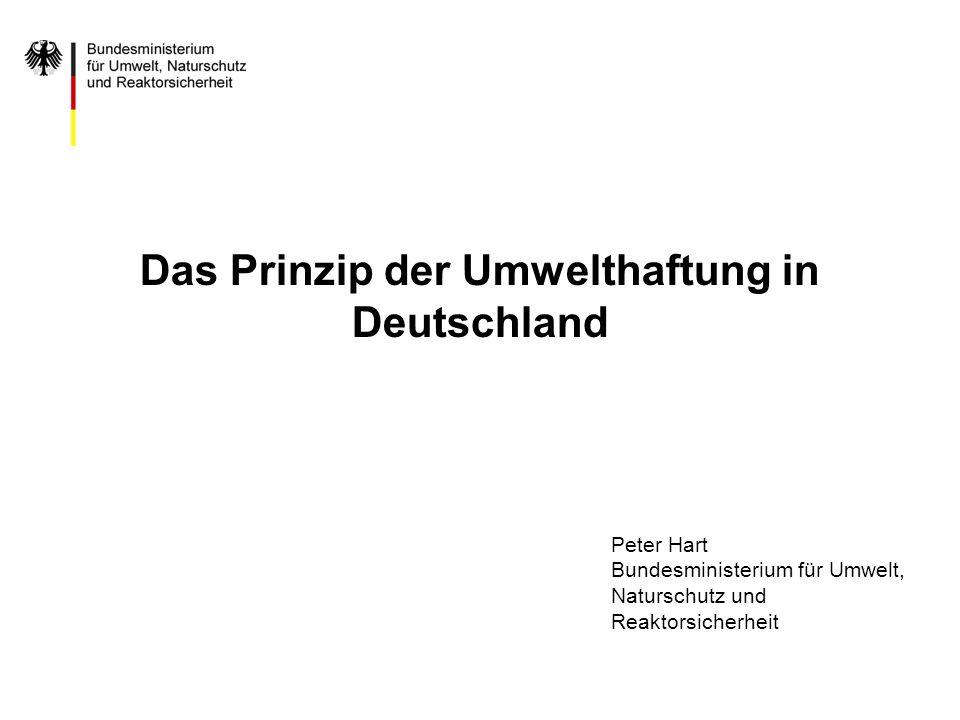 Das Prinzip der Umwelthaftung in Deutschland Peter Hart Bundesministerium für Umwelt, Naturschutz und Reaktorsicherheit