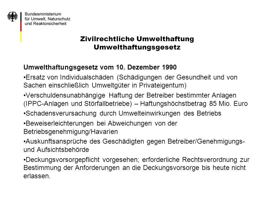 Zivilrechtliche Umwelthaftung Umwelthaftungsgesetz Umwelthaftungsgesetz vom 10.