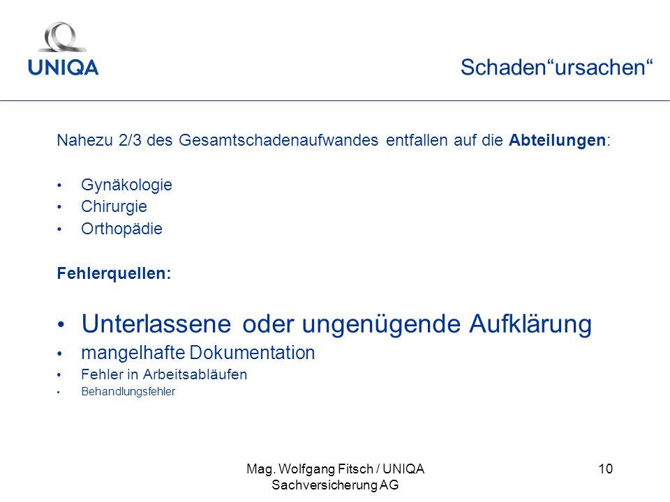 Mag. Wolfgang Fitsch / UNIQA Sachversicherung AG 10 Schadenursachen Nahezu 2/3 des Gesamtschadenaufwandes entfallen auf die Abteilungen: Gynäkologie C
