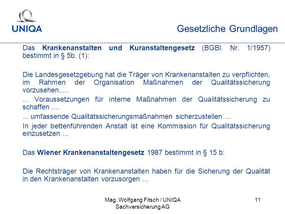 Mag. Wolfgang Fitsch / UNIQA Sachversicherung AG 11 Gesetzliche Grundlagen Das Krankenanstalten und Kuranstaltengesetz (BGBl. Nr. 1/1957) bestimmt in