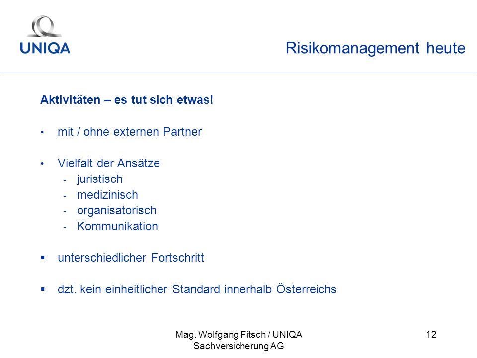 Mag. Wolfgang Fitsch / UNIQA Sachversicherung AG 12 Risikomanagement heute Aktivitäten – es tut sich etwas! mit / ohne externen Partner Vielfalt der A