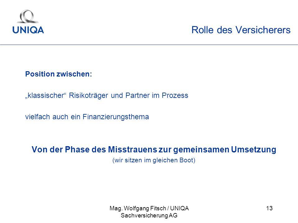 Mag. Wolfgang Fitsch / UNIQA Sachversicherung AG 13 Rolle des Versicherers Position zwischen: klassischer Risikoträger und Partner im Prozess vielfach