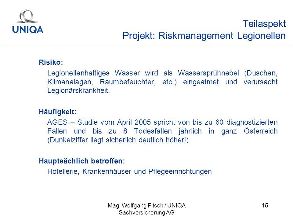 Mag. Wolfgang Fitsch / UNIQA Sachversicherung AG 15 Teilaspekt Projekt: Riskmanagement Legionellen Risiko: Legionellenhaltiges Wasser wird als Wassers