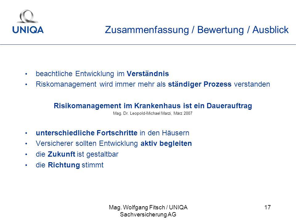 Mag. Wolfgang Fitsch / UNIQA Sachversicherung AG 17 Zusammenfassung / Bewertung / Ausblick beachtliche Entwicklung im Verständnis Riskomanagement wird