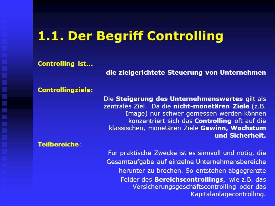 1.1. Der Begriff Controlling Controlling ist... die zielgerichtete Steuerung von Unternehmen Controllingziele: Die Steigerung des Unternehmenswertes g