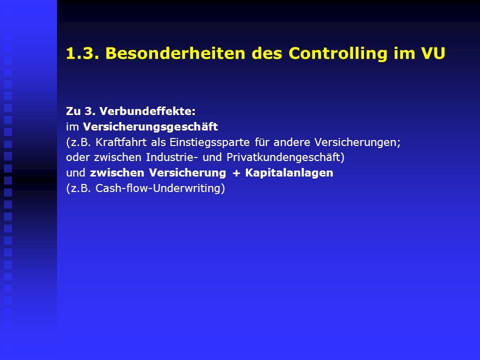 1.3. Besonderheiten des Controlling im VU Zu 3. Verbundeffekte: im Versicherungsgeschäft (z.B. Kraftfahrt als Einstiegssparte für andere Versicherunge
