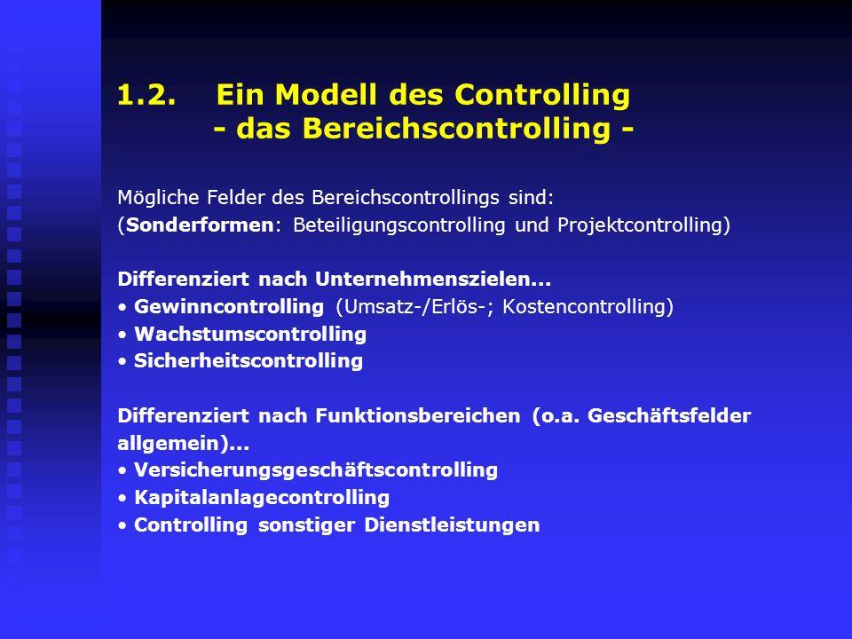 1.2. Ein Modell des Controlling - das Bereichscontrolling - Mögliche Felder des Bereichscontrollings sind: (Sonderformen: Beteiligungscontrolling und