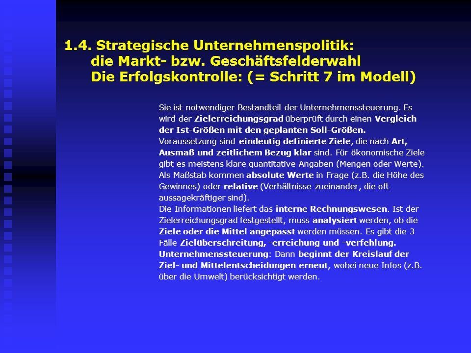 1.4. Strategische Unternehmenspolitik: die Markt- bzw. Geschäftsfelderwahl Die Erfolgskontrolle: (= Schritt 7 im Modell) Sie ist notwendiger Bestandte