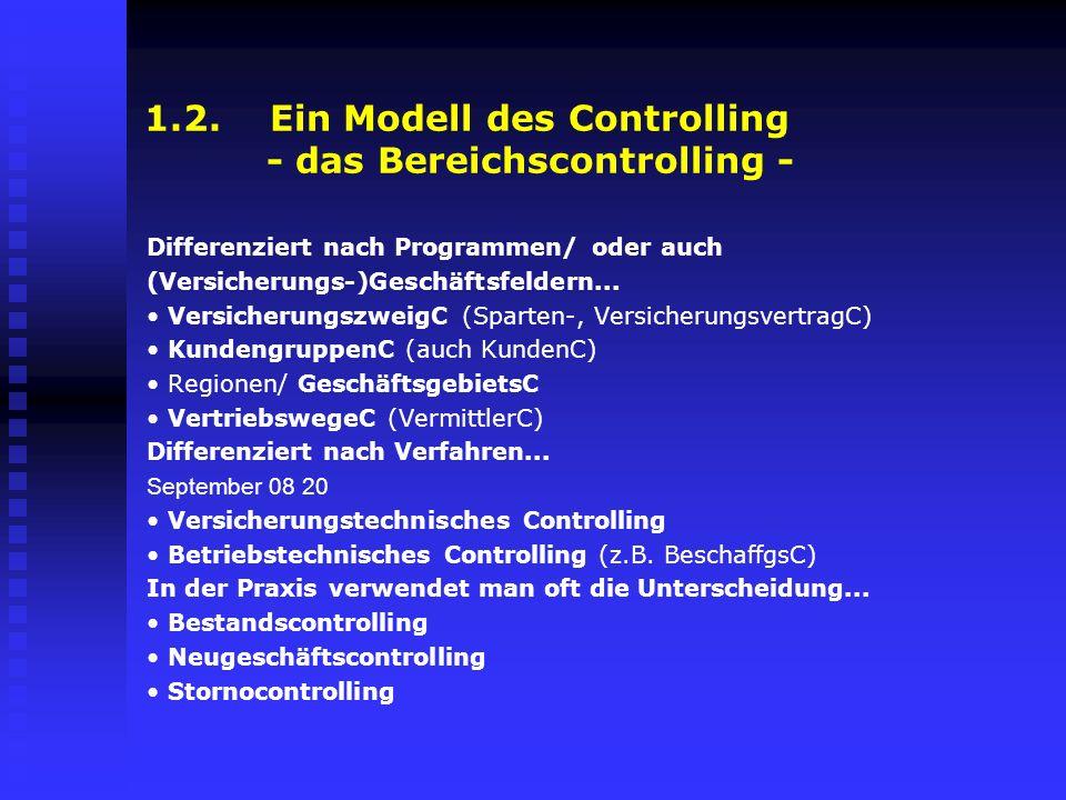 1.2. Ein Modell des Controlling - das Bereichscontrolling - Differenziert nach Programmen/ oder auch (Versicherungs-)Geschäftsfeldern... Versicherungs