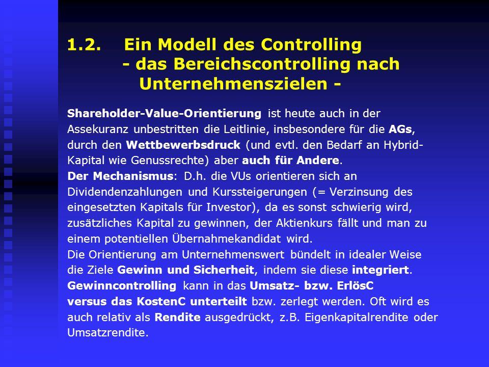 1.2. Ein Modell des Controlling - das Bereichscontrolling nach Unternehmenszielen - Shareholder-Value-Orientierung ist heute auch in der Assekuranz un
