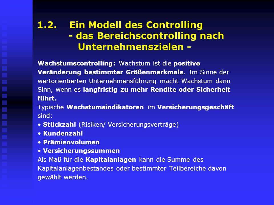 1.2. Ein Modell des Controlling - das Bereichscontrolling nach Unternehmenszielen - Wachstumscontrolling: Wachstum ist die positive Veränderung bestim