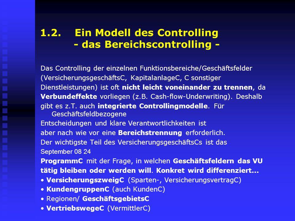 1.2. Ein Modell des Controlling - das Bereichscontrolling - Das Controlling der einzelnen Funktionsbereiche/Geschäftsfelder (VersicherungsgeschäftsC,