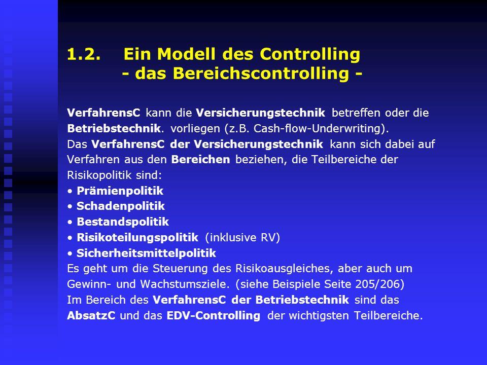 1.2. Ein Modell des Controlling - das Bereichscontrolling - VerfahrensC kann die Versicherungstechnik betreffen oder die Betriebstechnik. vorliegen (z