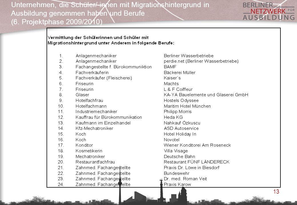 13 Unternehmen, die Schüler/-innen mit Migrationshintergrund in Ausbildung genommen haben und Berufe (6. Projektphase 2009/2010)