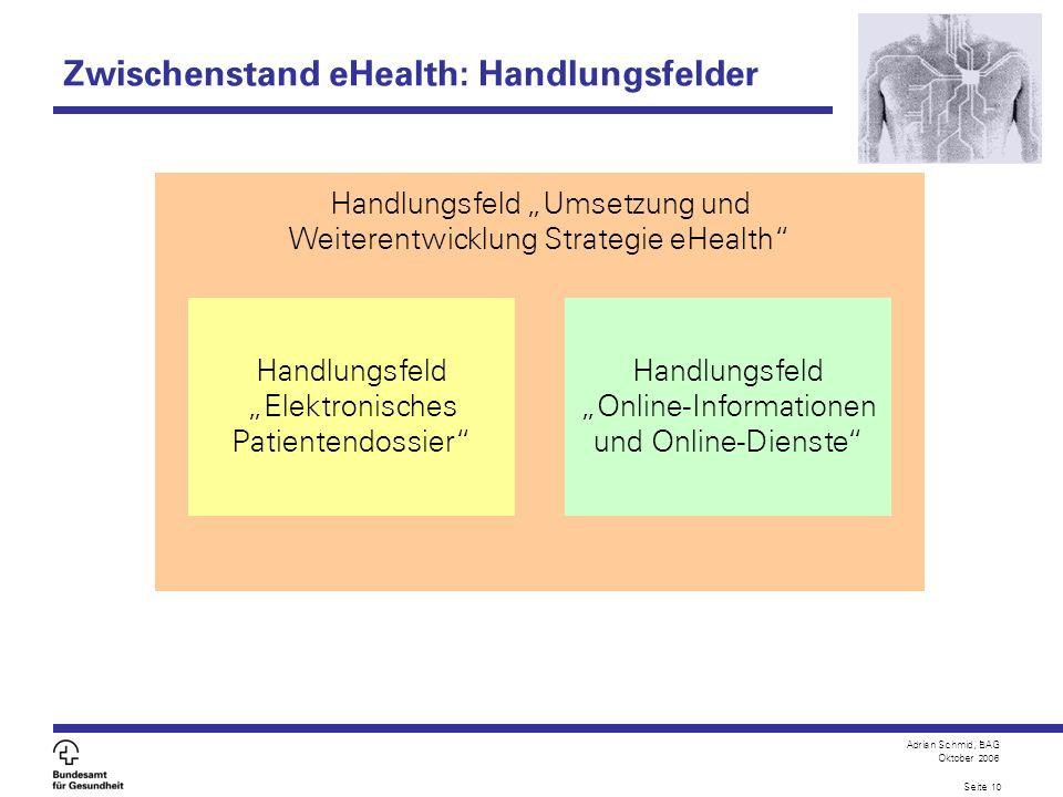 Adrian Schmid, BAG Oktober 2006 Seite 10 Zwischenstand eHealth: Handlungsfelder Handlungsfeld Umsetzung und Weiterentwicklung Strategie eHealth Handlu