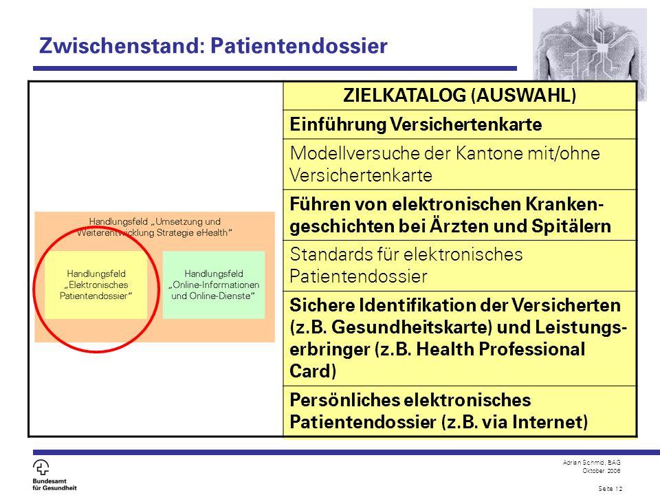 Adrian Schmid, BAG Oktober 2006 Seite 12 ZIELKATALOG (AUSWAHL) Einführung Versichertenkarte Modellversuche der Kantone mit/ohne Versichertenkarte Führ