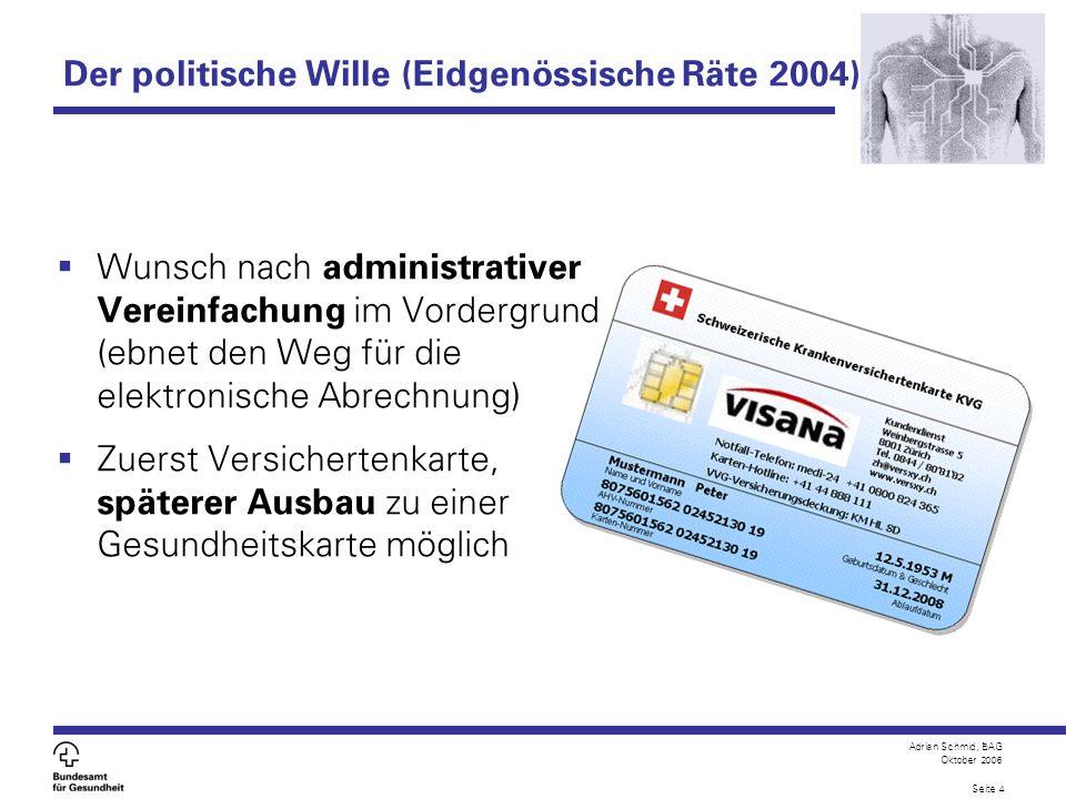 Adrian Schmid, BAG Oktober 2006 Seite 4 Der politische Wille (Eidgenössische Räte 2004) Wunsch nach administrativer Vereinfachung im Vordergrund (ebne