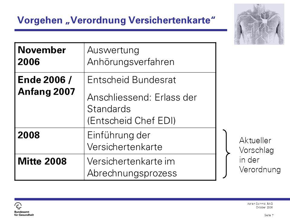 Adrian Schmid, BAG Oktober 2006 Seite 7 Vorgehen Verordnung Versichertenkarte Aktueller Vorschlag in der Verordnung November 2006 Auswertung Anhörungs