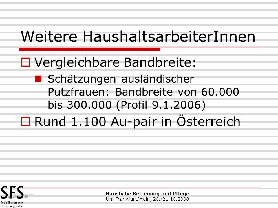 Häusliche Betreuung und Pflege Uni Frankfurt/Main, 20./21.10.2008 Weitere HaushaltsarbeiterInnen Vergleichbare Bandbreite: Schätzungen ausländischer P