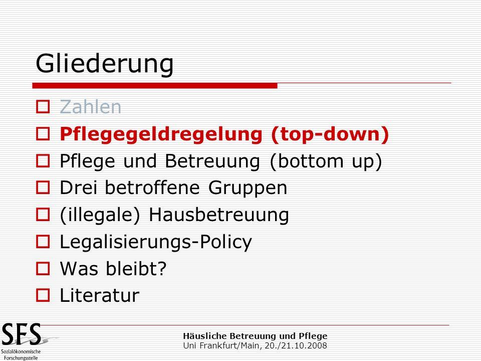 Häusliche Betreuung und Pflege Uni Frankfurt/Main, 20./21.10.2008 Gliederung Zahlen Pflegegeldregelung (top-down) Pflege und Betreuung (bottom up) Dre