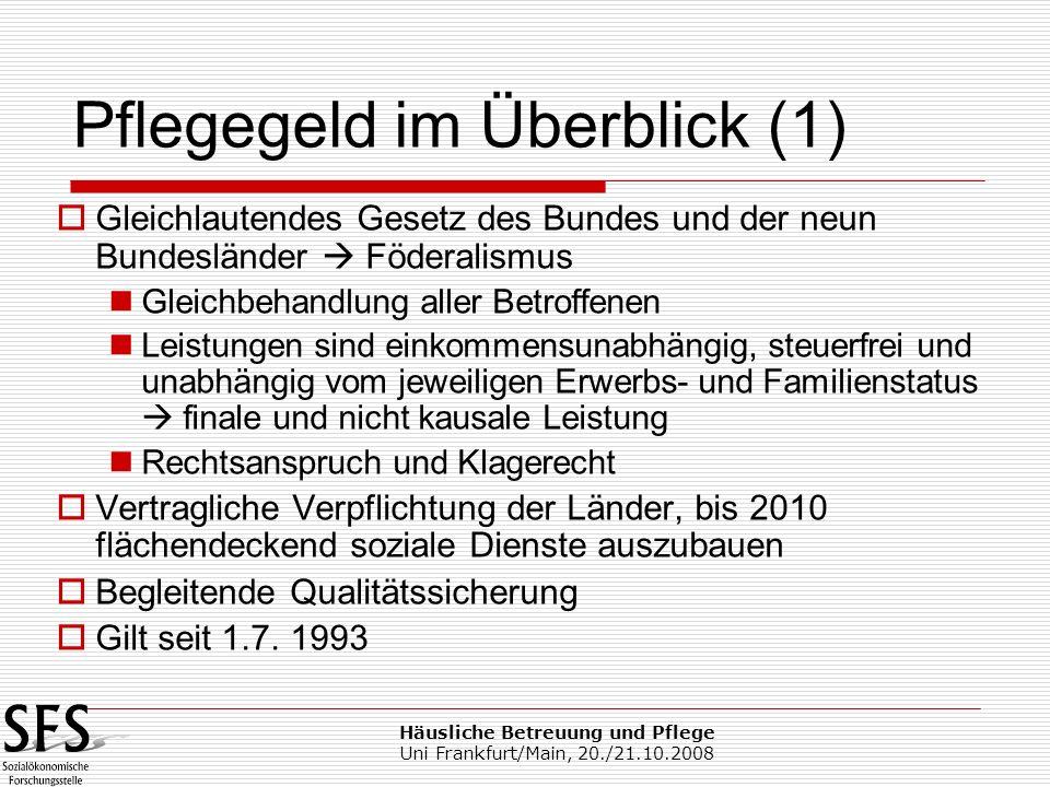 Häusliche Betreuung und Pflege Uni Frankfurt/Main, 20./21.10.2008 Gleichlautendes Gesetz des Bundes und der neun Bundesländer Föderalismus Gleichbehan