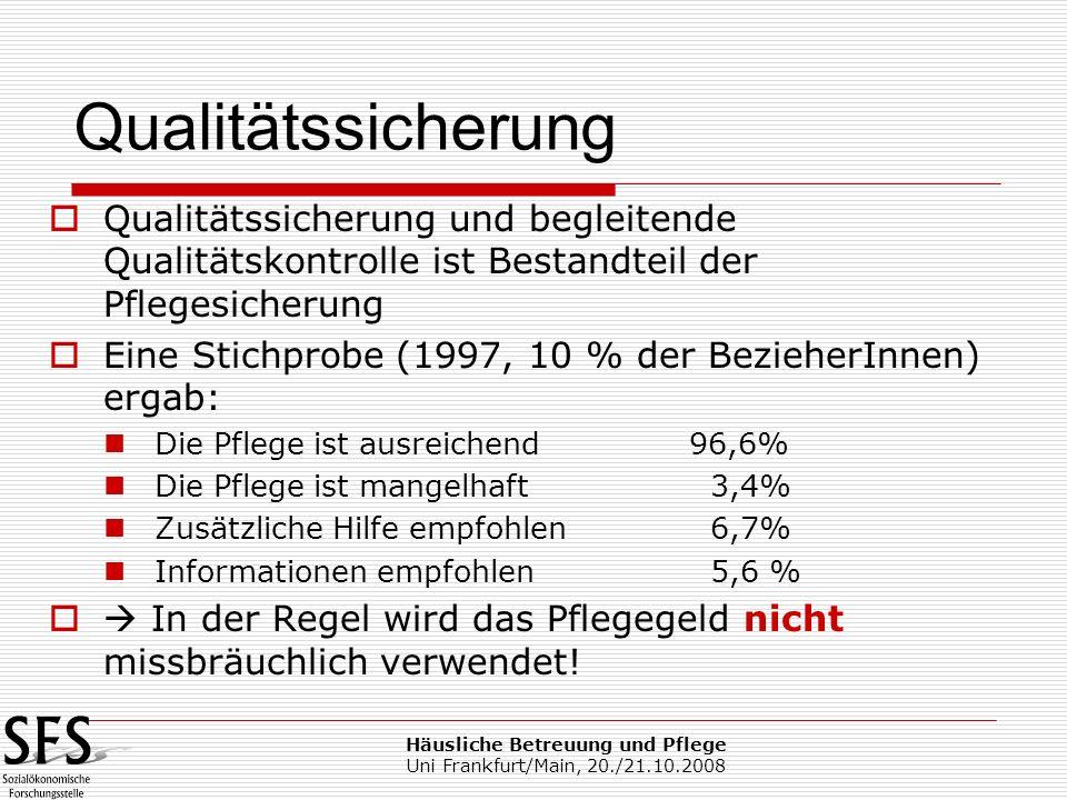 Häusliche Betreuung und Pflege Uni Frankfurt/Main, 20./21.10.2008 Qualitätssicherung und begleitende Qualitätskontrolle ist Bestandteil der Pflegesich