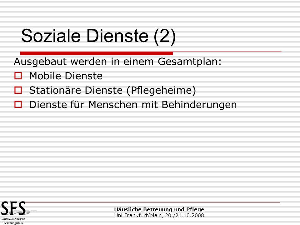 Häusliche Betreuung und Pflege Uni Frankfurt/Main, 20./21.10.2008 Ausgebaut werden in einem Gesamtplan: Mobile Dienste Stationäre Dienste (Pflegeheime