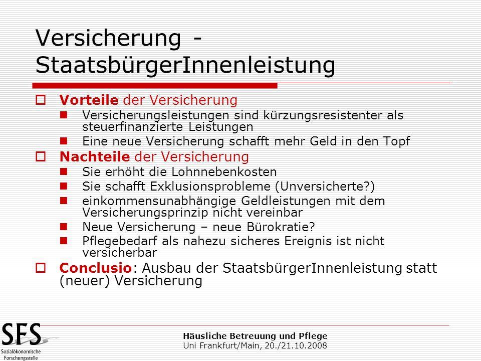 Häusliche Betreuung und Pflege Uni Frankfurt/Main, 20./21.10.2008 Versicherung - StaatsbürgerInnenleistung Vorteile der Versicherung Versicherungsleis