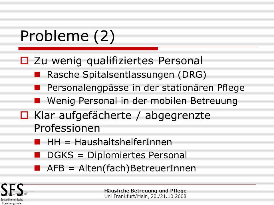 Häusliche Betreuung und Pflege Uni Frankfurt/Main, 20./21.10.2008 Probleme (2) Zu wenig qualifiziertes Personal Rasche Spitalsentlassungen (DRG) Perso